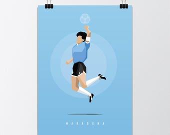The Hand of God - Diego Maradona Illustration Print