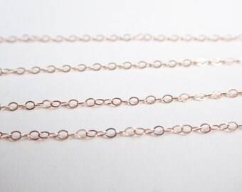 Rose Gold Filled Flat Cable Chain 5 Ft, 2.2 x 1.7mm Cable Chain, Dainty Chain, Bulk Chain By The Foot, Jewelry Supplies, Jewelry Chain