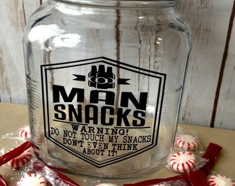 Gift for Him, Gift for Hubby, Man Snack Jar, Funny Gift for Him, Gift for Dad, Funny Gift for Husband, Father's Day Gift, Valentine's Day