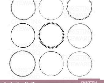 Circle Frame Clip Art, Frame Clip Art, Doodle Clip Art, Circle Clipart, Hand Drawn Clip Art, Black and White, Digital Stamp, Digital Frames