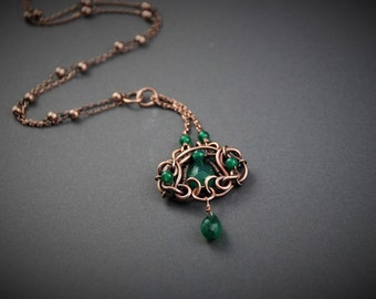 Wire wrapped copper pendant green onyx pendant necklace