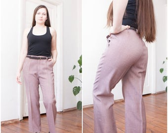 70s Pleated Wide Leg Pants Lilac Pale Pastel Pink Mens Small Womens Medium Classic Trousers W32 L27 Straight Leg Slacks Smart Waist 32 Pants