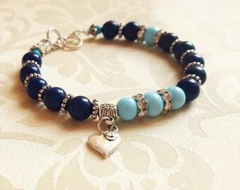 Bangle bracelet Gemstone bracelet Beaded bracelet Natural stone bracelet Heart charm bracelet Silver bracelet Blue bracelet Gift for woman