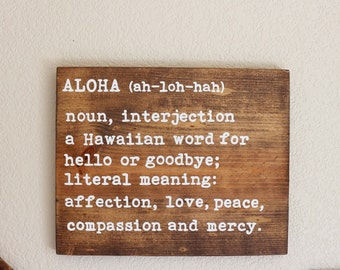 Aloha Definition Sign    Rustic Wood Beach Sign- Boho Decor