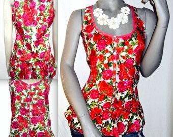 Peplum Top SLEEVELESS Feminine Floral Cami/TANK  Ruffle MULTI Color Soft S/M