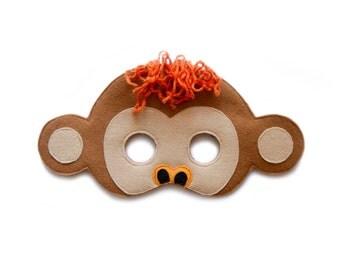 Monkey mask, children Jungle animal mask, adult ape mask, felt mask, Halloween costume, pretend play mask, Zoo party mask, Jungle photo prop