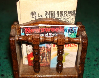 Vintage Miniature Dollhouse Spindled Wood Magazine Rack with a Newspaper and 5 Magazines!  Newspaper and Magazines are Removable! Scale 1:12