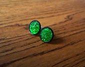 Green druzy studs Faux druzy earrings Emerald green Sparkle studs Nickel free earrings 12mm stud earrings Black studs Glittery earrings