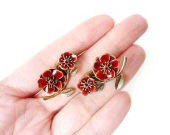 Vintage Red Flower Earrings with Enamel Petals and Ruby Rouge Rhinestones