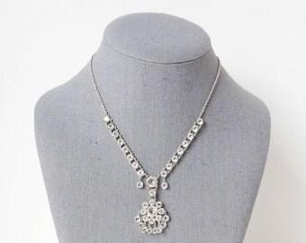 Vintage 12k Crystal Necklace with Flower Pendant and Open Back White Gold Bridal Design