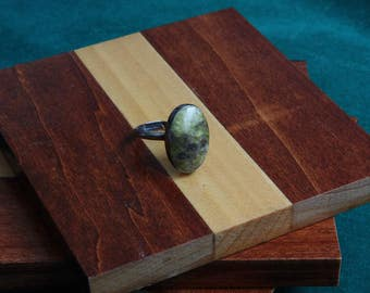Cabochon Irish Connemara Marble, Silver Setting, Adjustable Ring 1970s