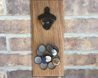 Wall Mounted Magnetic Bottle Opener Cast Iron Bottle Opener Solid Oak Magnetic Bottle Opener