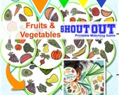 """FRUITS & VEGETABLES MATCHING Game Shout Out; 31 cards, 3"""" and 5"""" circle or square included in printable file"""