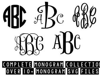 monogram svg bundle with monogram frames svg dxf jpeg png file stencil monogram frame silhouette cameo cricut clip art commercial use