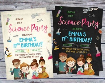 Science Birthday Invitation, Science Birthday Party, Science Invitation, Science Party, Science themed Party, Science printable, digital,