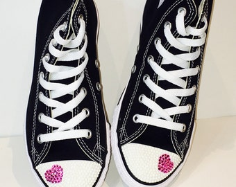 Heart Bling Shoes. WHITE Rhinestones. Valentines Day Gift. Kids Custom High Top Converse Shoes. Wedding Shoes, Flower Girl, Bat-Mitzvah Gift