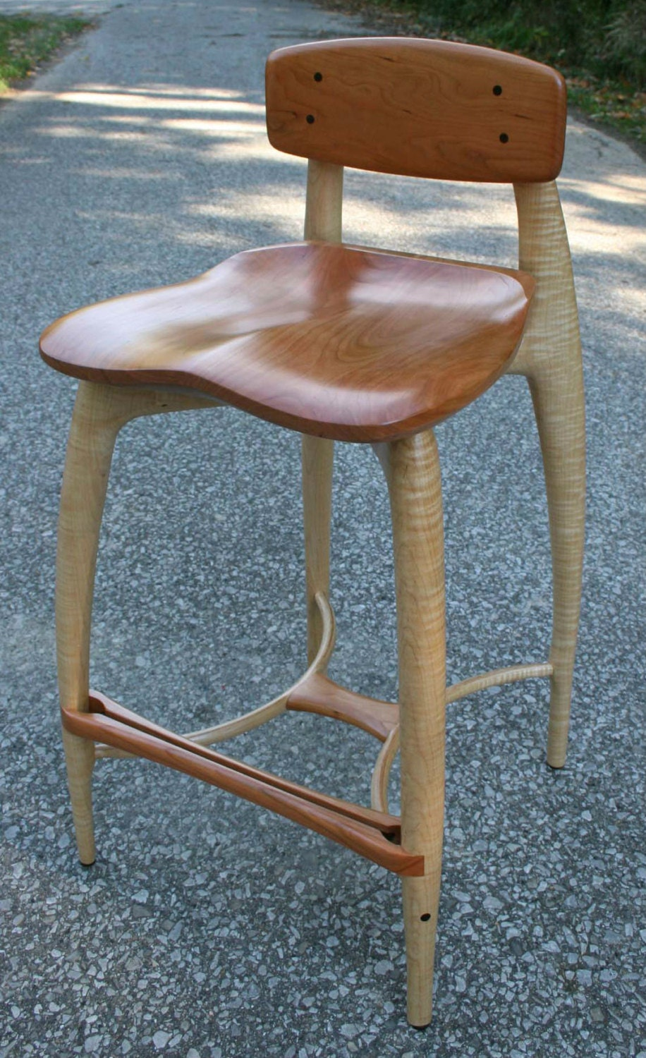 Modern Wood Bar Stool Counter Stool Hand Carved Seat And