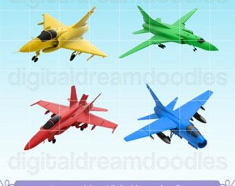 Jet Clipart, Fighter Jet Clip Art, Air Force Graphic, Jet Plane Image, Army Jet Scrapbook, Jet Pilot Picture, Aeroplane Jet Digital Download