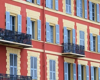 Nice France, blue shutters, window dressing, French architecture, French home decor, fine art photography, French apartment 8x10