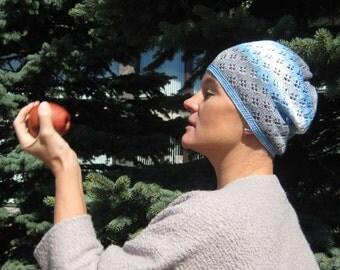 Blue knit hat Blue Womens hat Sun hat for women Knit summer hat Crochet hat women Cotton hat women Knitted girl set Blue mittens Gray cuffs