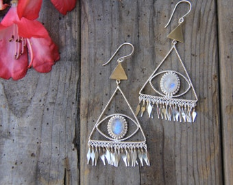 Pyra Earrings, Moonstone Earrings, Sterling Silver Earrings, Boho Earrings, Gypsy Earrings, Dangle Earrings, Sunsara Jewellery