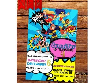 Dc Super Hero Girls Invitation, dc superhero girls, dc superhero girls birthday, dc superhero girls party, dc superhero girls, dc superhero