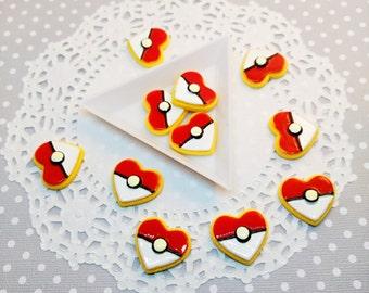 5pc Pokemon Heart Cookie 22mm Kawaii Fake Foods Resin Cabochon Scrapbook Decoden Craft DIY