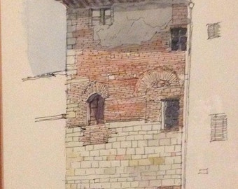 """Original Tuscan Watercolour of a 'Casa Torre"""" by Daniel Wrightson Painted 1997"""