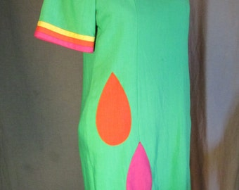 Late 1980s Early 1990s Lime Green Colorful Raindrop Sheath Dress by Chancelle | Size 14 Large L