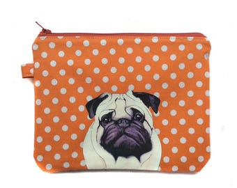 Pug Flat purse, Zipper pouch, Cosmetic purse, Pencil Case, Fabric pouch, Dog gift, Dog lover, Polka dot fabric,