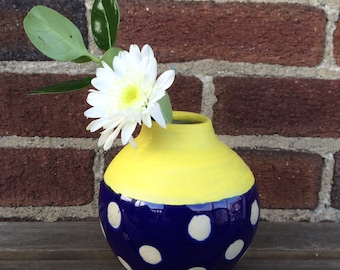 Ceramic bud vase, cobalt blue and white polka dots with yellow accent