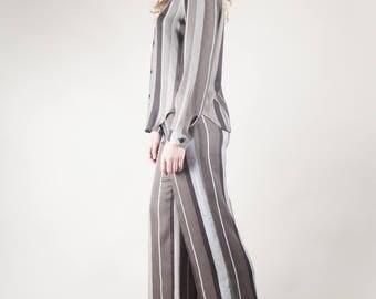 Grey Striped 70's Flares