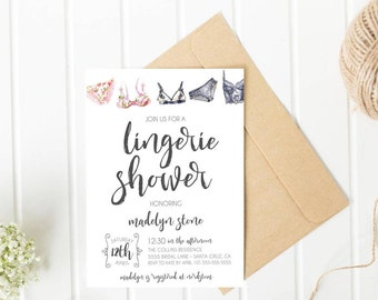 Lingerie shower invitation, Lingerie Bridal Shower, Bachelorette party invitations, Lingerie Party, Bridal Shower invite, Digital Printed
