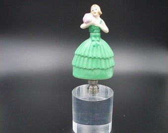Custom Lamp Finial with an  Antique 1920's German Art Deco Scent Bottle