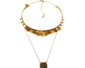 Woodstock - labradorite pendant and brass disc choker
