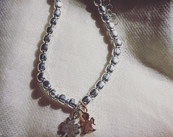 """925 Silver charms bracelet blunt nuggets """"Quadrifoglio"""" in silver and """"Angel"""" in silver rose wine"""