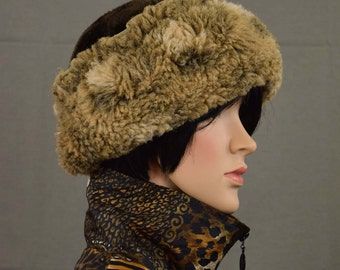 Vintage Pillbox Faux Fur Russian Cossack Style Winter Hat - Hat Cap - One Size Fits All