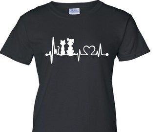 Dog & Cat Heart Beat T Shirt - Dog and Cat Heartbeat T Shirt - Cute Dog Cat T Shirt - Dog Shirt - Dog Lovers T Shirt