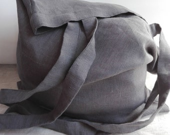 Linen Tote Bag, Linen Shopping Bag, Linen Market Bag, Linen Beach Bag, Shoulder Bag, Tote Bag, Gray Tote Bag, Handmade Tote Bag