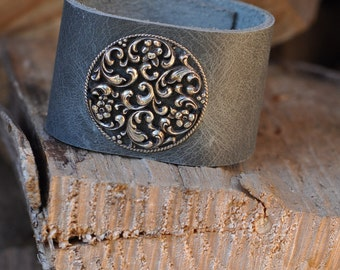 Indie bracelet, leather cuff bracelet, grey cuff, vintage silver, boho cuff, unique bracelet, handmade by AnyaSophiaCo