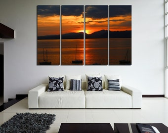 Large Wall Sailboats Canvas Color Sunset Multipanel Canvas Mountain&Sunset  Art Large Boats 1-3-4-5 Panels Set Ocean Print