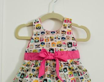 Instagram printed dress- 6 months girls handmade
