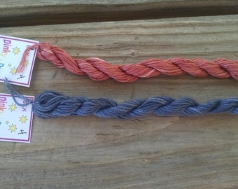 Dinky Dyes Hand Dyed Silk Thread Red Dust Charcoal