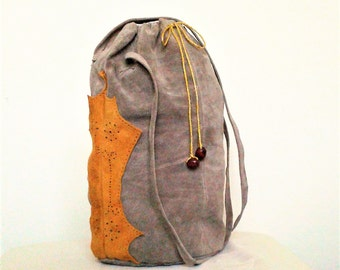 leather bucket bag, yellow leather bag, leather shoulder bag, recycled bags, boho bag, crossbody bags, bucket bag, festival bag, suede bag