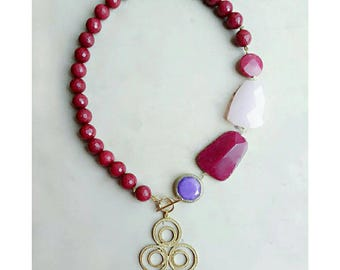 Pink jewelry for women, lariat necklace, beaded necklace, pink gift for women, summer jewelry, y necklace, pendant best statement necklace