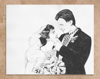 Custom Couple Portrait Drawing in Pencil, Wedding Portrait Sketch, Personalized Wedding Gift, Gift for Couple, Engagement Anniversary Gifts