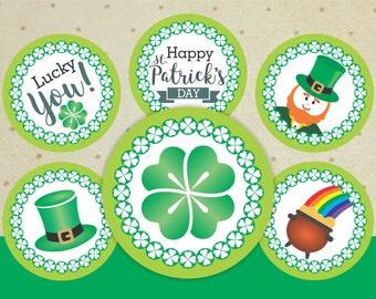 Printable Saint Patrick's Day Cupcake Toppers. Saint Patrick's Day Decorations. Saint Patricks Day Decor.