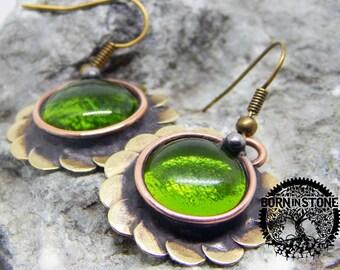 Steampunk earrings Copper earrings Flower earrings Green earrings Vintage jewelry Round earrings Wedding anniversary For her For women