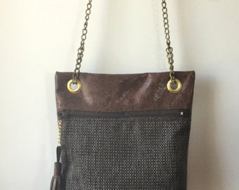 Bag pouch in faux old leather and fabric - ref S43