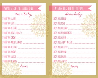 Baby Shower Game Wishes For The Little One Pink Gold